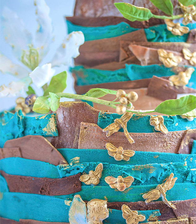 Niebiesko brązowy tort