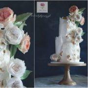 Tort urodzinowy biały z kwiatami