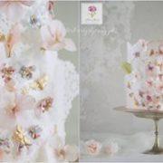 Biały tort z kwiatkami