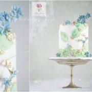 Zielono niebieski tort