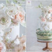 Trzypiętrowy tort w kwiaty