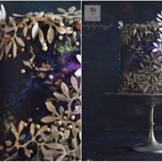 Fioletowy tort artystyczny